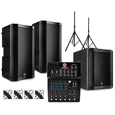 Harbinger L802 Mixer Package with VARI V4000 Series Speakers, V2318S Subwoofer, Stands and Cables