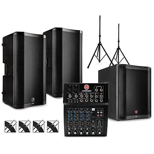 Harbinger L802 Mixer Package with VARI V4000 Series Speakers, V2318S Subwoofer, Stands and Cables 15