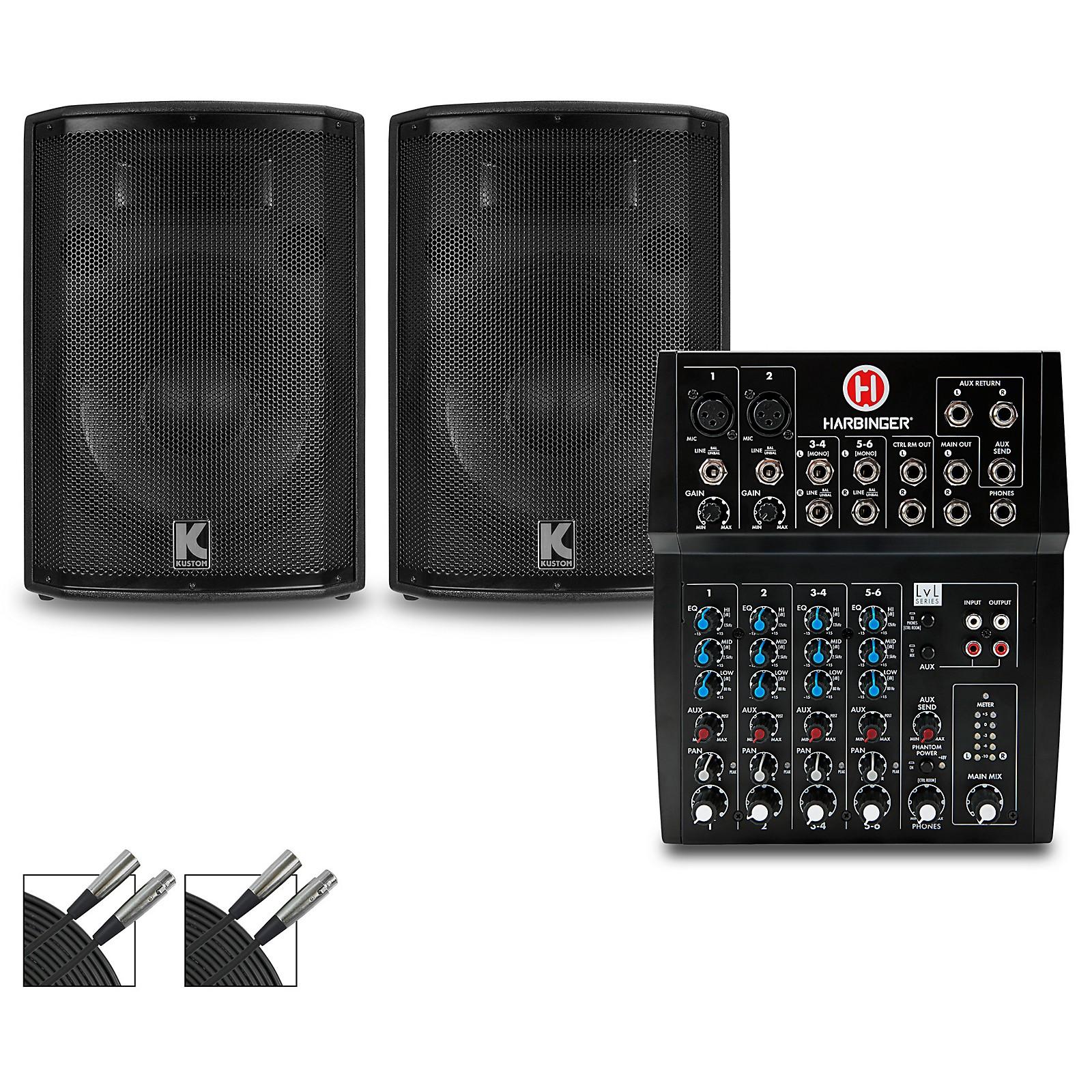 Harbinger L802 Mixer and Kustom HiPAC Speakers