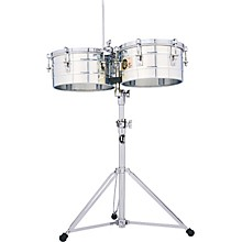 """LP LP257-S Tito Puente 14"""" and 15"""" Stainless Steel Timbales"""