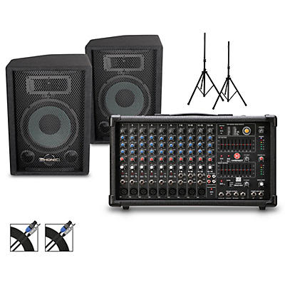 Harbinger LP9800 Powered Mixer with S7 PA and Stands Package