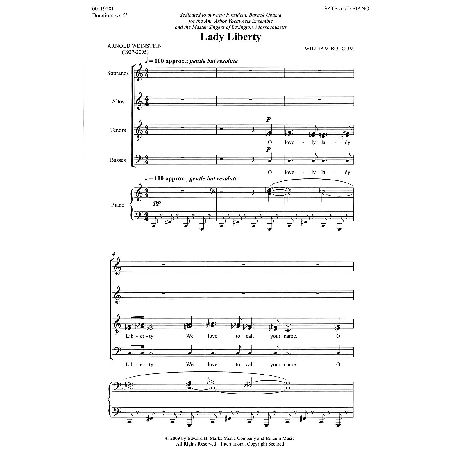 Edward B. Marks Music Company Lady Liberty (SATB and Piano) Composed by William Bolcom