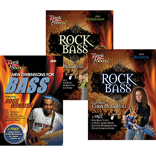 Rock House Learn Rock Bass Beginner, Intermediate, and New Dimensions for Bass (3-DVD Set)