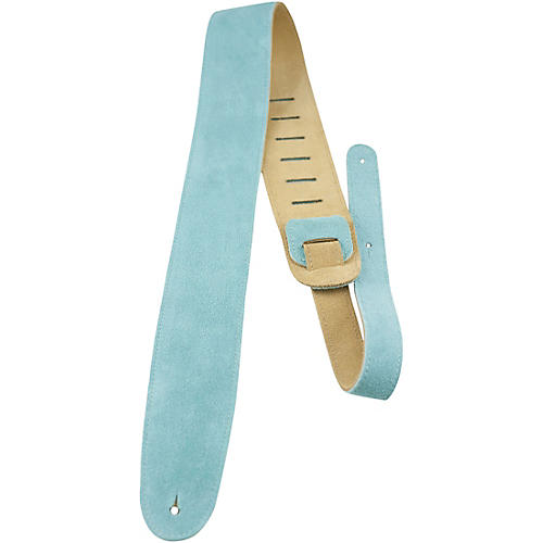 Perri's Leather Guitar Strap with Reversable Natural Suede Backing Teal 2 in.