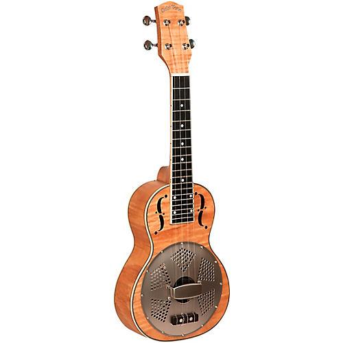 Gold Tone Left-Handed Concert-Scale Curly Maple Resonator Ukulele with Gig Bag Natural