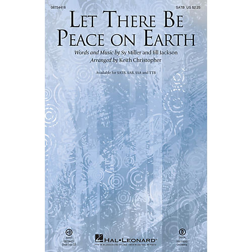 Hal Leonard Let There Be Peace On Earth ORCHESTRA ACCOMPANIMENT Arranged by Keith Christopher