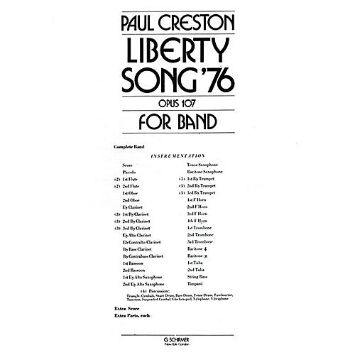 G. Schirmer Liberty Song (Score and Parts) Concert Band Level 4-5 Composed by Paul Creston