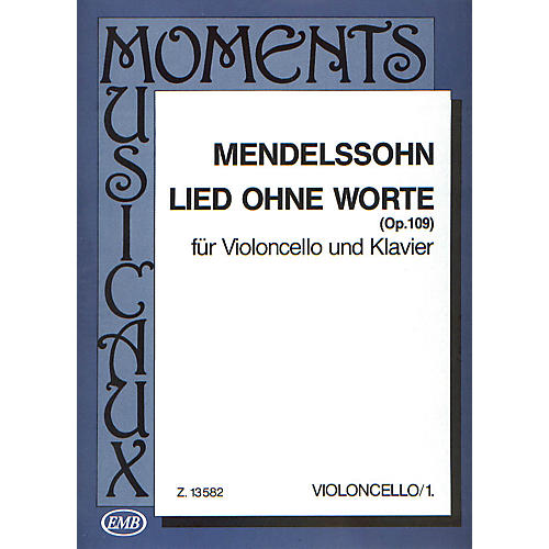 Editio Musica Budapest Lied Ohne Worte, Op. 109 (Cello and Piano) EMB Series Composed by Felix Mendelssohn