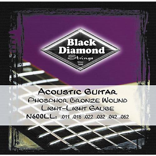 Black Diamond Light Light Gauge Phosphor Bronze Acoustic Guitar Strings