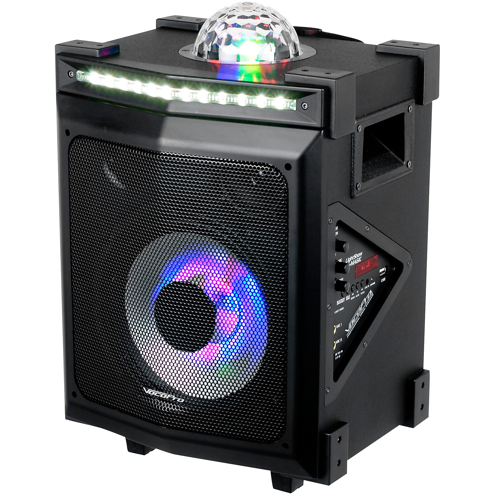 VocoPro LightShow Magic Battery-Powered Karaoke System with LED Lights and Bluetooth