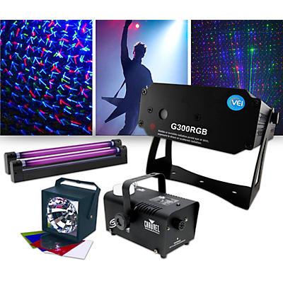 American DJ Lighting Effects Package with G300RGB Laser, ADJ VBar Pak and Fog Machine