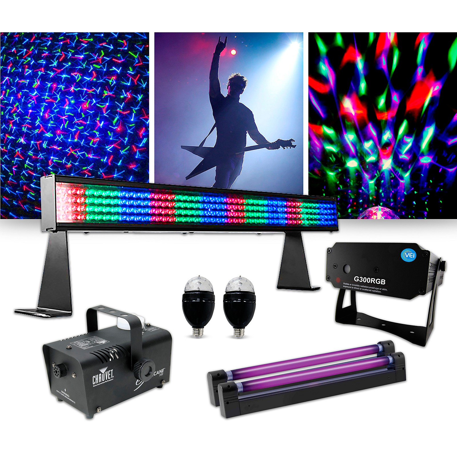 CHAUVET DJ Lighting effects package with COLORstrip MINI and VEI G300 RGB Laser