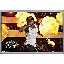 Lil Wayne - Stage Fire Poster Framed Silver