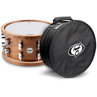 PDP by DW Limited Edition Dark Stain Walnut and Maple Snare with Walnut Hoops and Chrome Hardware and Protection Racket Case