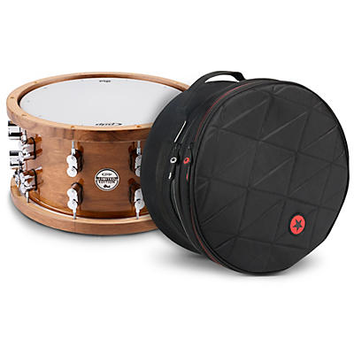 PDP by DW Limited Edition Dark Stain Walnut and Maple Snare with Walnut Hoops and Chrome Hardware and Road Runner Bag