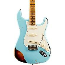 Limited Edition Heavy Relic Mischief Maker Maple Fingerboard Electric Guitar Daphne Blue over 3-Color Sunburst