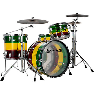 Ludwig Limited Edition Vistalite 3 piece FAB Shell Pack with 22 in Bass Drum- Island Sunset