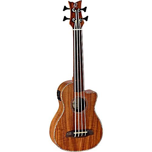 Ortega Lizard Series CAIMAN-GBFL-GB Fretless Acoustic-Electric Ukulele-Bass
