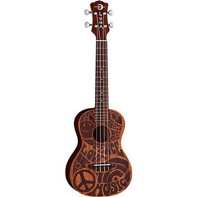 Luna Guitars Love Music Peace Concert Ukulele With Gig Bag