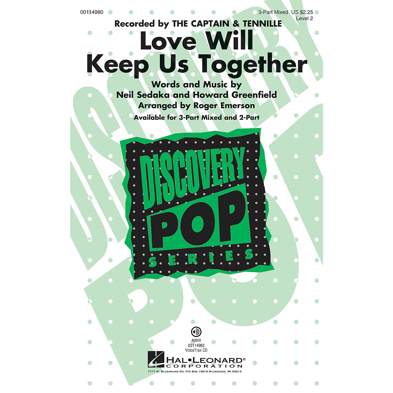 Hal Leonard Love Will Keep Us Together 3-Part Mixed by The Captain & Tennille arranged by Roger Emerson