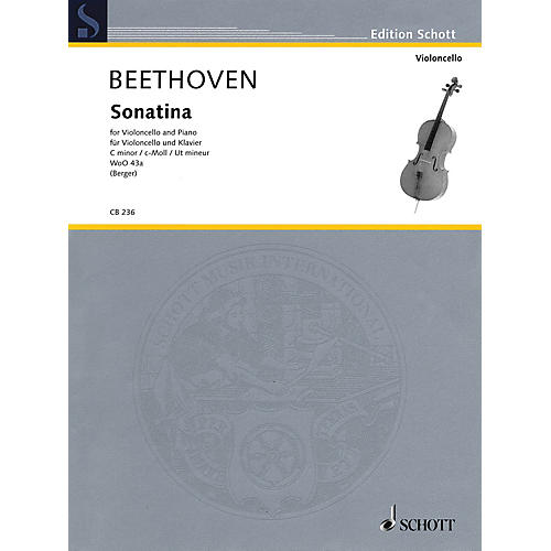 Schott Ludwig van Beethoven - Sonatina, WoO 43a (Cello and Piano) String Series Softcover