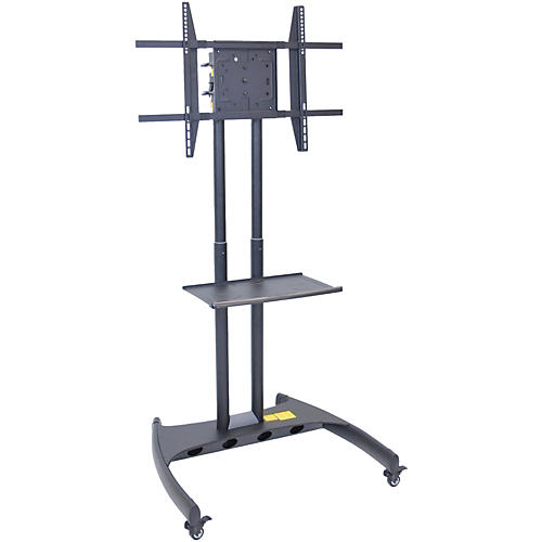 H. Wilson Luxor Adjustable Flat Panel Cart with Shelf and Rotating Mount