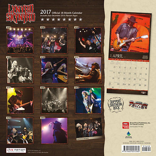 Browntrout Publishing Lynyrd Skynyrd 2017 Live Nation Calendar