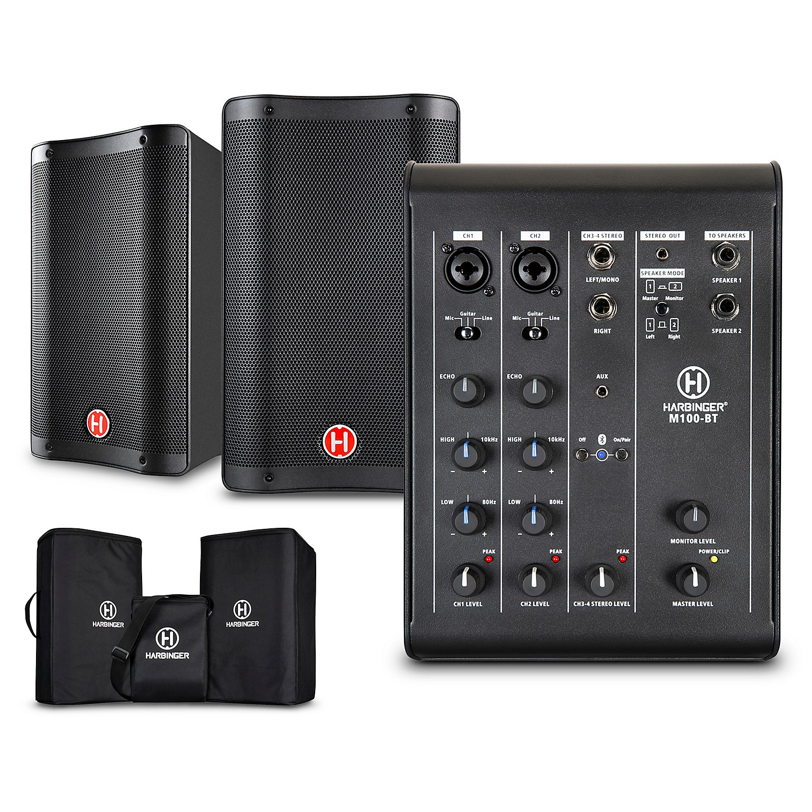 Harbinger M100-BT Portable PA with Bluetooth and Custom Carry Bags