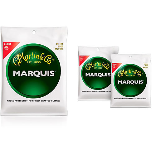 Martin M1100 Marquis 80/20 Bronze Light 3-Pack Acoustic Guitar Strings