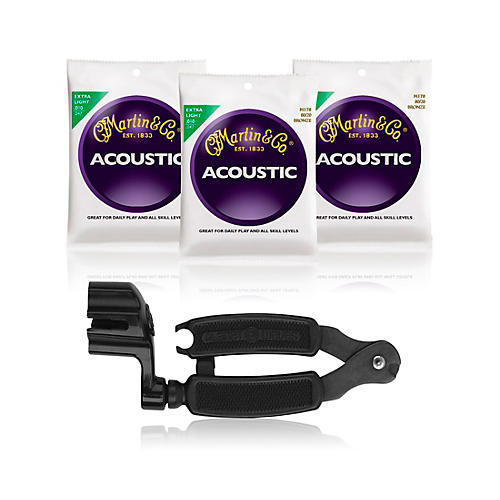 Martin M170 80/20 Bronze Extra Light Acoustic Strings 3-Pack with Pro-Winder String Winder/Cutter