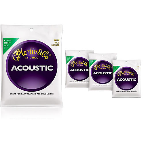 Martin M170 80/20 Bronze Round Wound Extra Light Acoustic Guitar Strings - 4 Pack