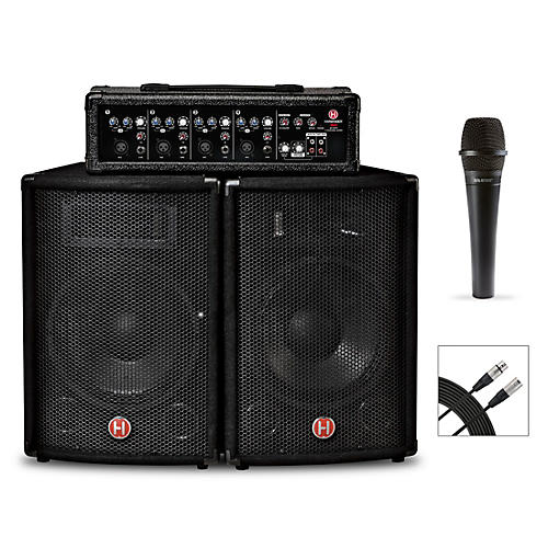 Harbinger M60 60-Watt, 4-Channel Compact Portable PA With Mic and Cable Bundle