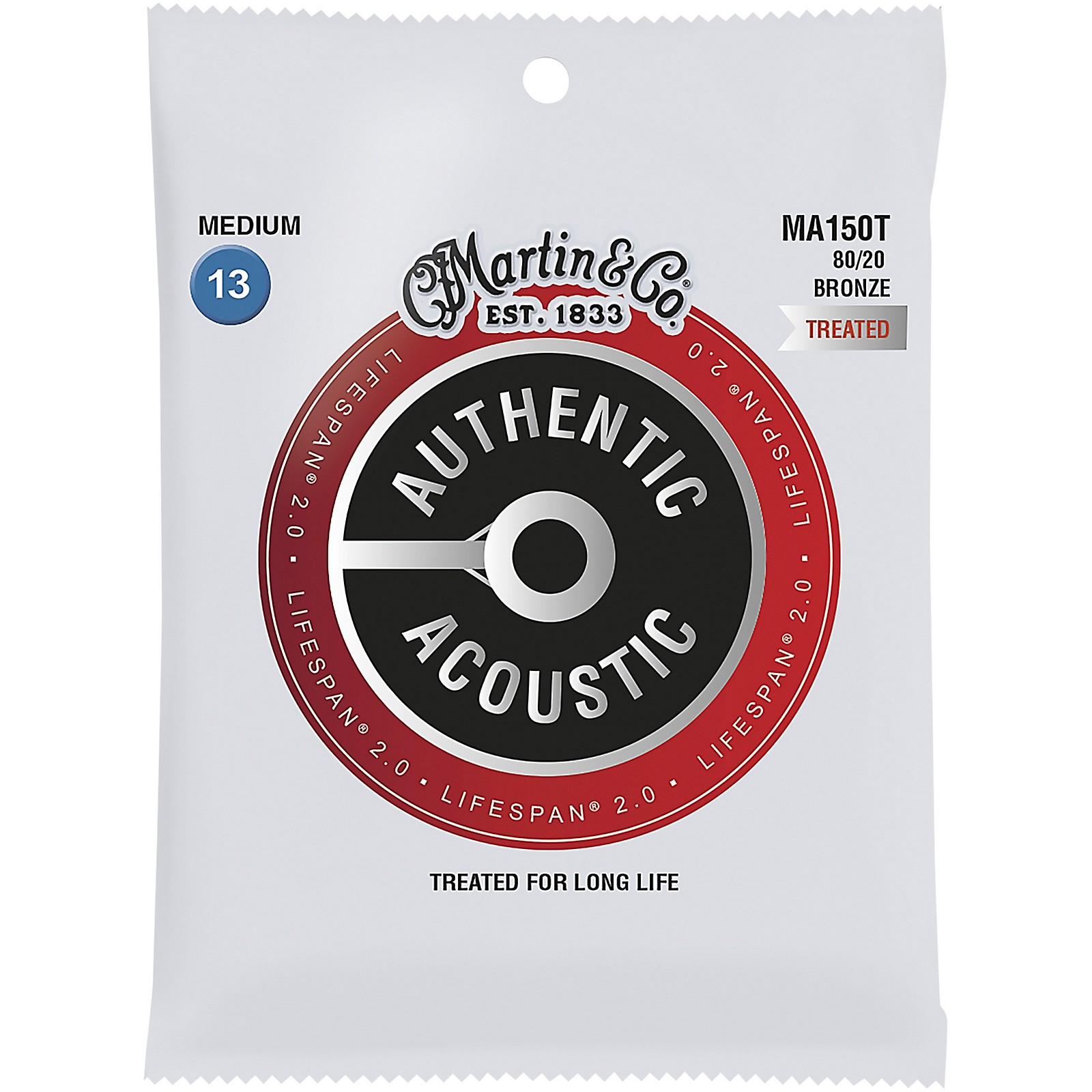 Martin MA150T Lifespan 2.0 80/20 Bronze Medium Authentic Acoustic Guitar Strings