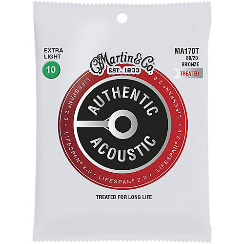 Martin MA170T Lifespan 2.0 80/20 Bronze Extra-Light Authentic Acoustic Guitar Strings