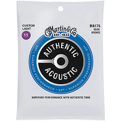 Martin MA175 SP 80/20 Bronze Custom-Light Authentic Acoustic Guitar Strings