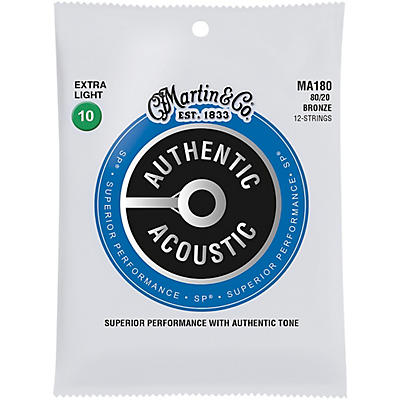 Martin MA180 SP 12-String 80/20 Bronze Extra-Light-Authentic-Acoustic-Guitar-Strings