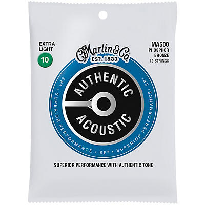 Martin MA500 SP 12-String Phosphor Bronze Extra-Light Authentic Acoustic Guitar Strings