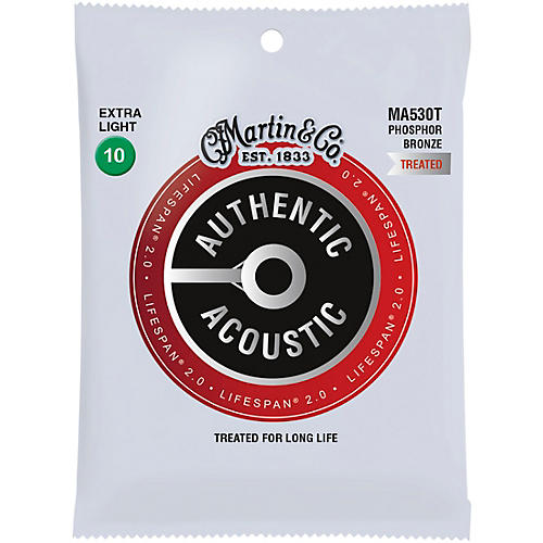 Martin MA530T Lifespan 2.0 Phosphor Bronze Extra-Light Authentic Acoustic Guitar Strings