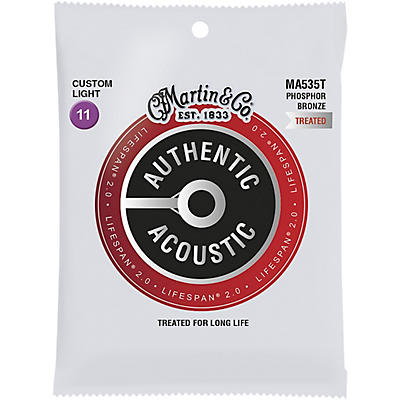 Martin MA535T Lifespan 2.0 Phosphor Bronze Custom-Light Authentic Acoustic Guitar Strings