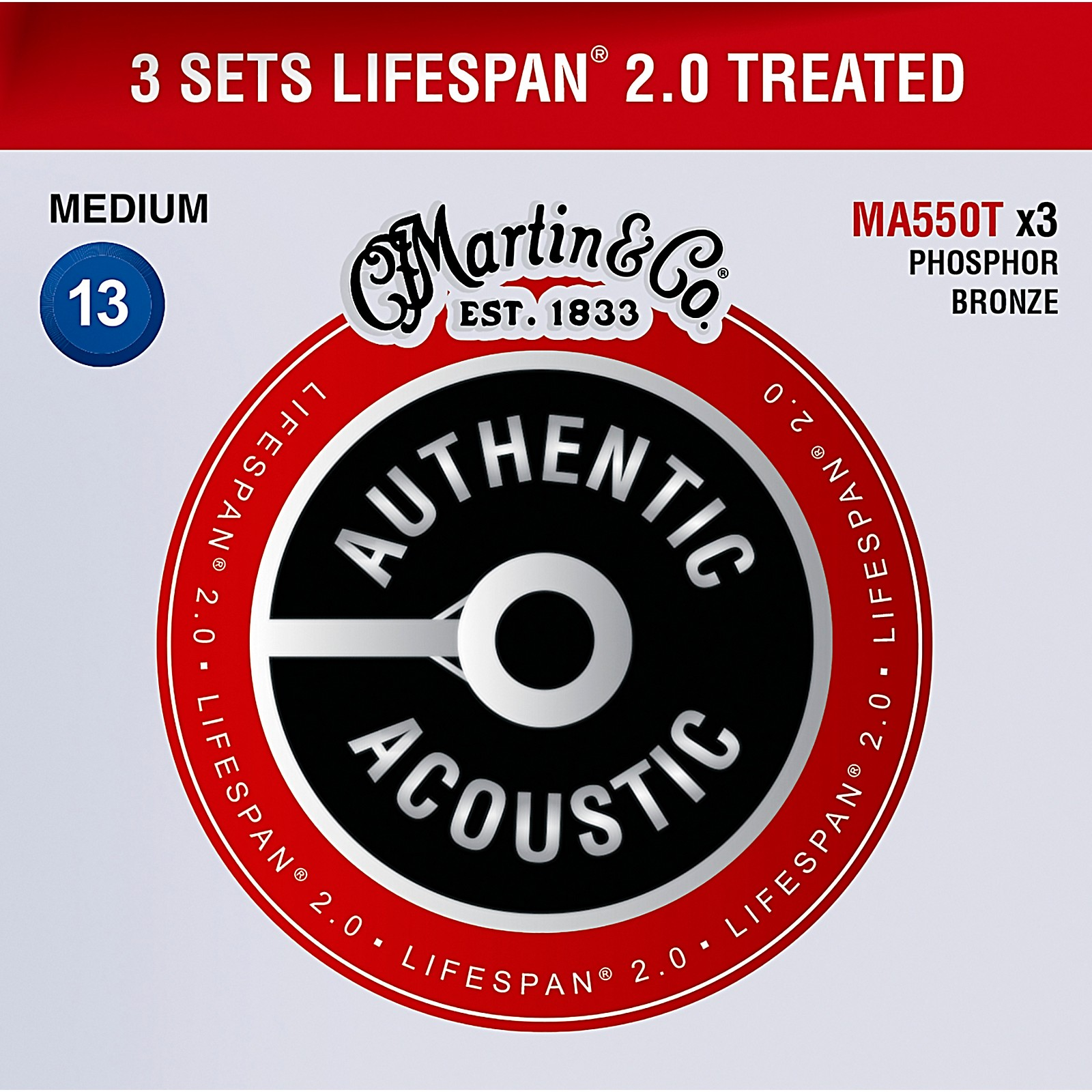 Martin MA550T Lifespan 2.0 Phosphor Bronze Medium Authentic Acoustic Guitar Strings - 3 Pack