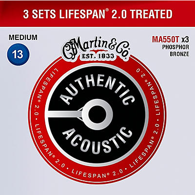 Martin MA550T Lifespan 2.0 Phosphor Bronze Medium Authentic Acoustic Guitar Strings - 3 Pack
