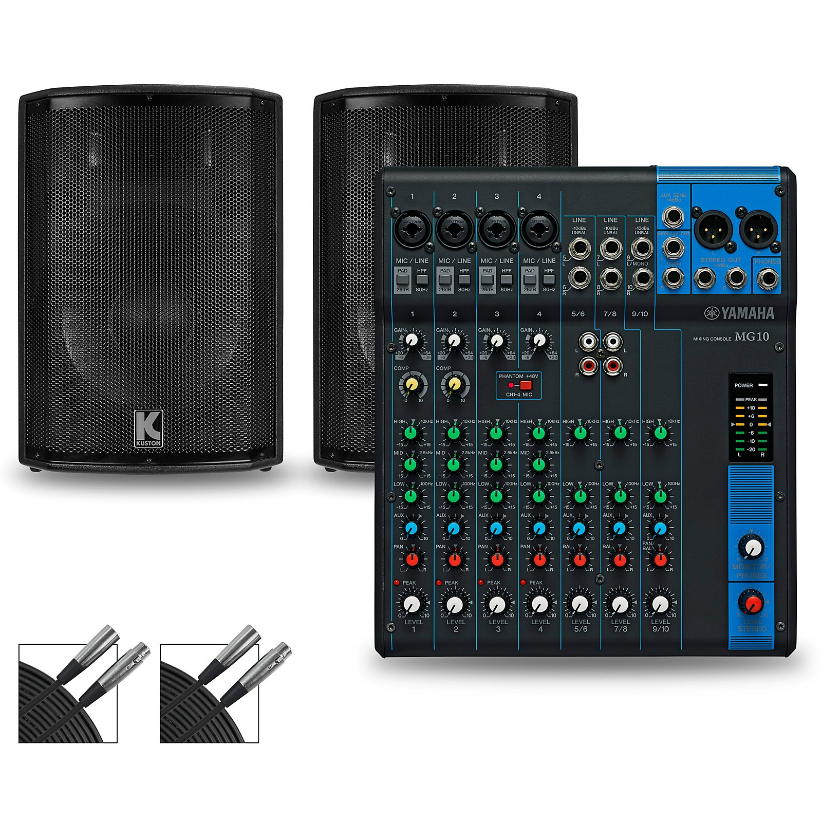 Yamaha MG10 Mixer and Kustom HiPAC Speakers