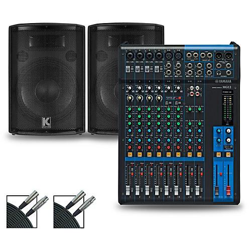 Yamaha MG12 Mixer and Kustom HiPAC Speakers 12