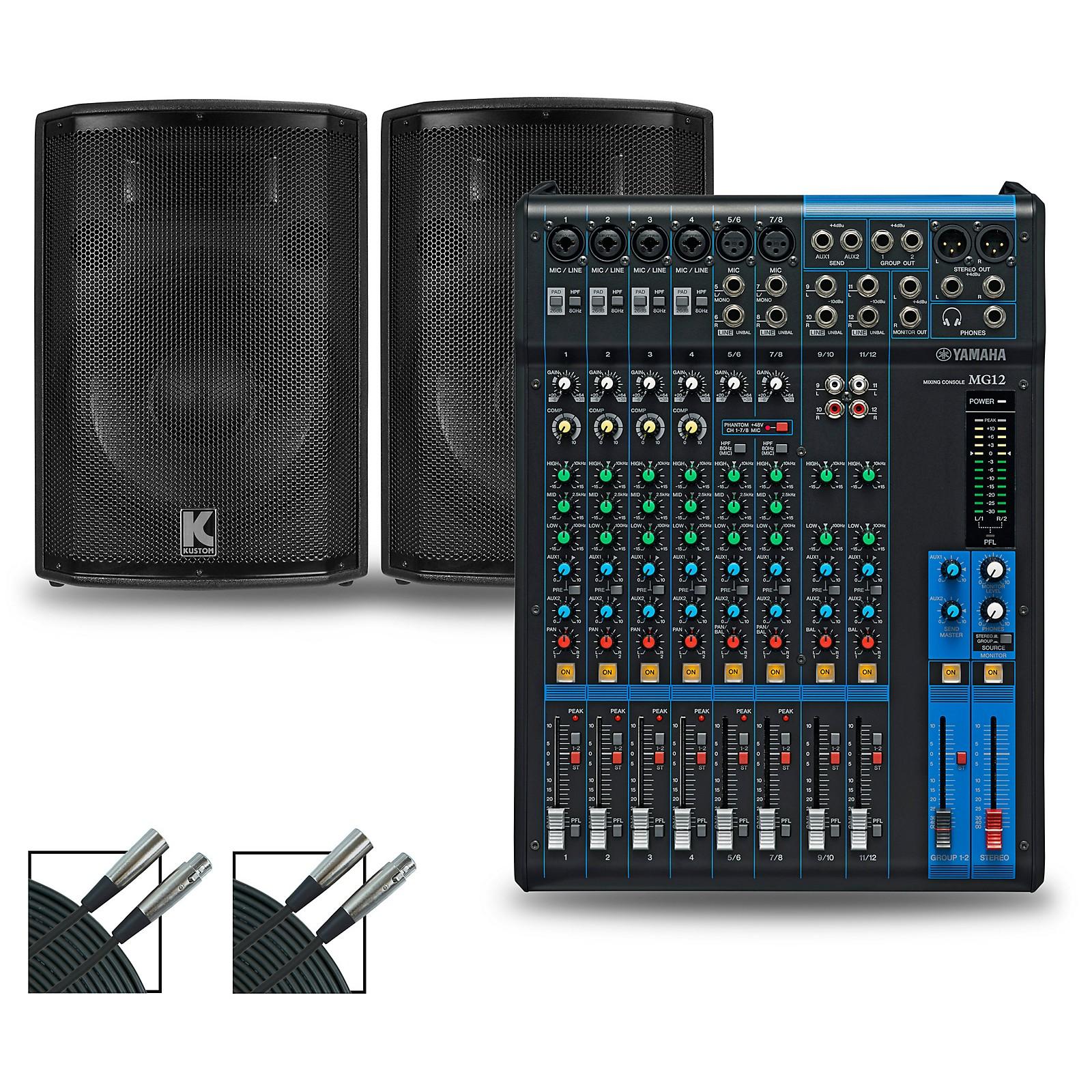 Yamaha MG12XU Mixer and Kustom HiPAC Speakers