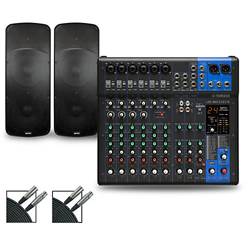 Yamaha MG12XUK Mixer with Gemini HPS BLU Speakers Dual 15