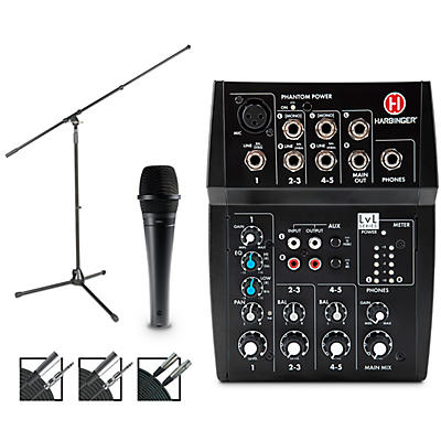 Harbinger MLS900 Personal Line Array Pair with Harbinger L502 Mixer and Cables Mic and Stand