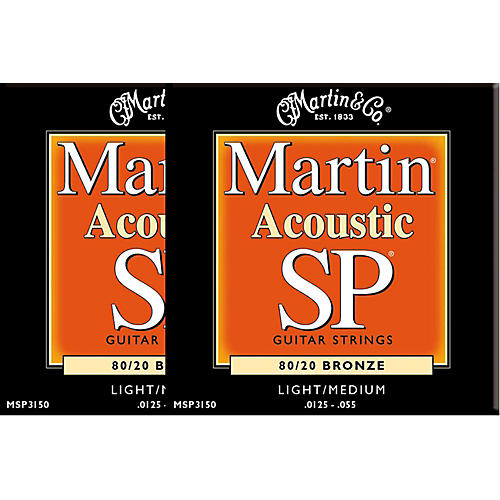 Martin MSP3150 SP Bronze Light/Medium Acoustic Guitar Strings (2 Pack)