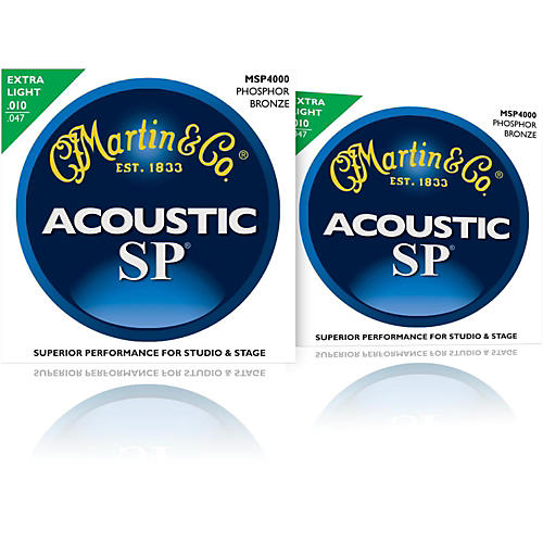 Martin MSP4000 SP Phosphor Bronze Extra Light Acoustic Guitar Strings (2 Pack)