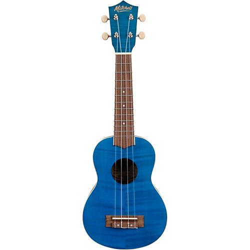 Mitchell MU45F Exotic Soprano Ukulele Flamed Maple Blue