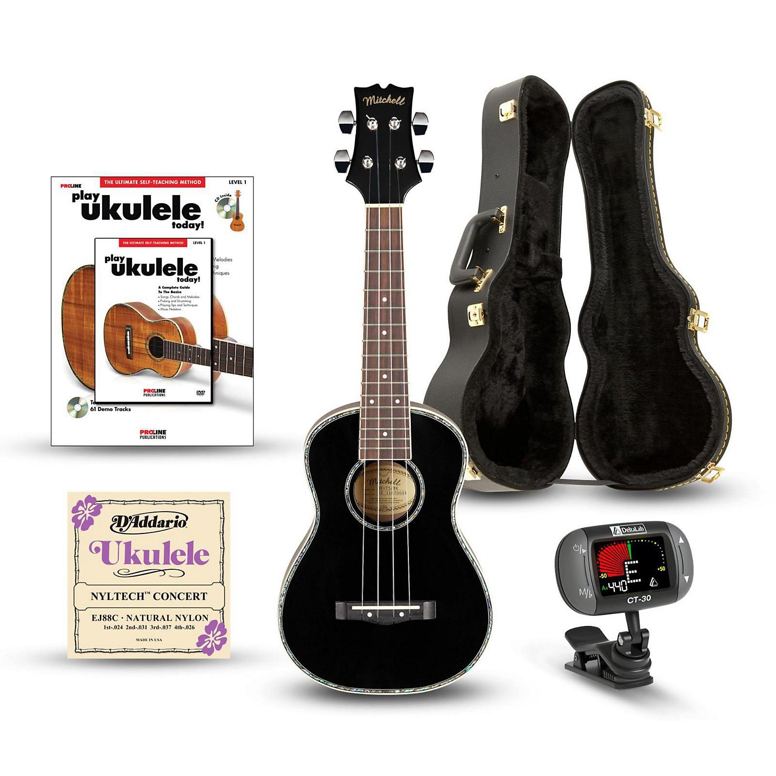Mitchell MU75BK Concert Ukulele Deluxe Bundle